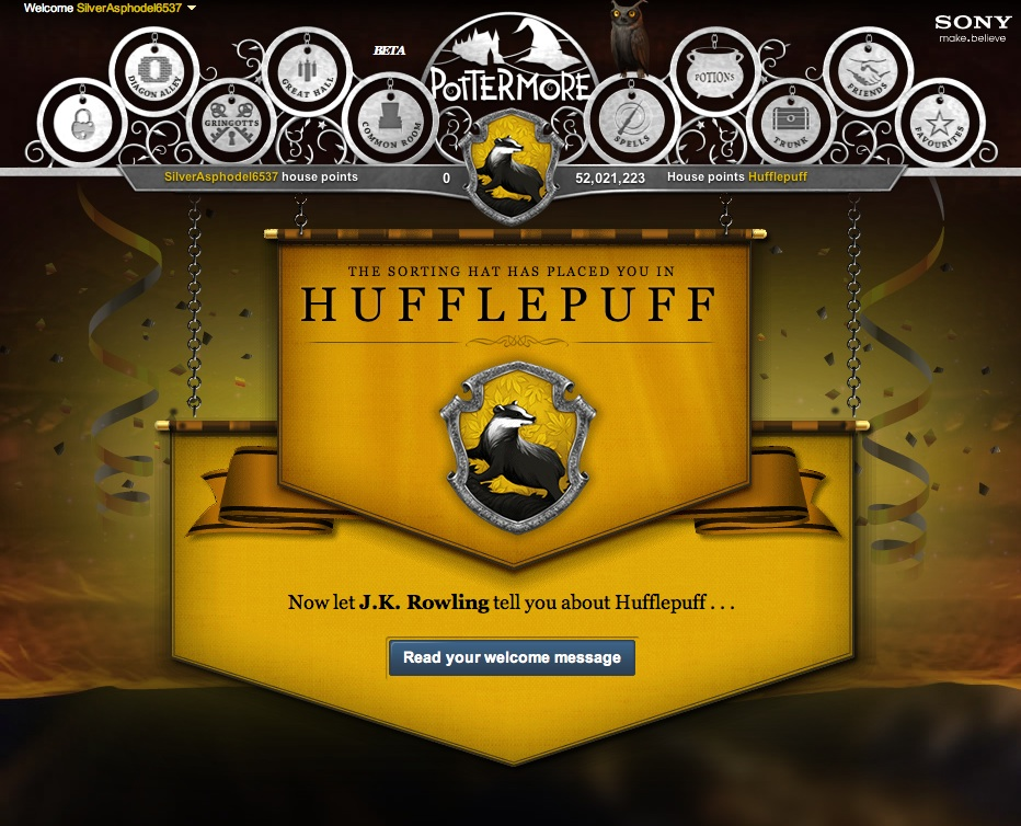 On Pottermore, The Sorting Hat placed Simone in Hufflepuff which apparently is like going to fat camp in the wizarding world.