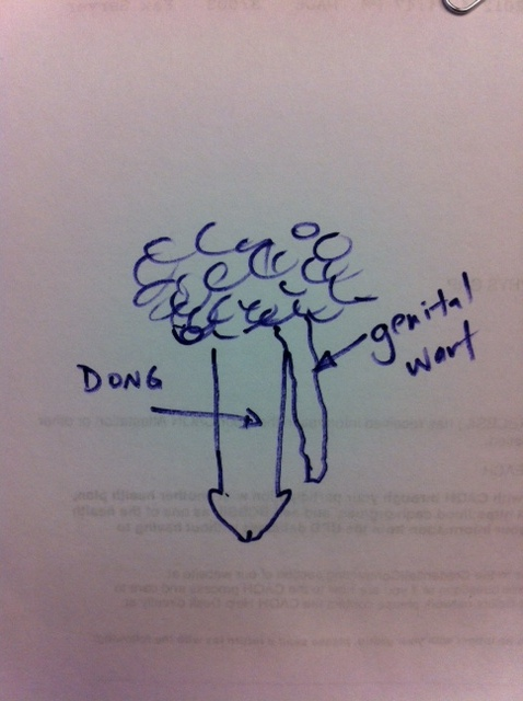 The pendulous genital wart drawn by a real live dong doctor.