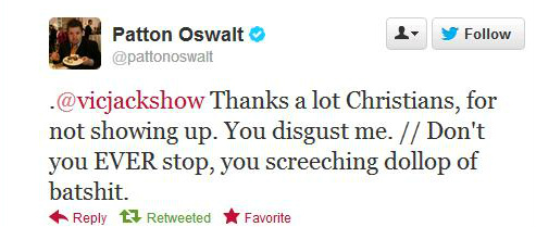 Patton Oswalt converses with Victoria Jackson.