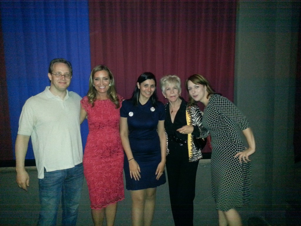 Simone with Kyle Vogt (Peter), Robyn Paris (Michelle), Carolyn Minnott (Claudette) and Juliette Danielle (Lisa) from the movie every Dongtini listener MUST see, 'The Room'.
