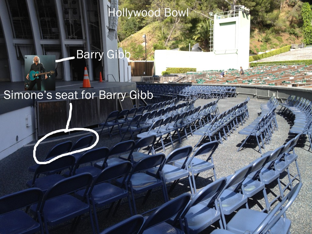 Somehow Gregg scored the seats only reserved for sultans and monarchs at the Hollywood Bowl for the Barry Gibb concert. Magical.
